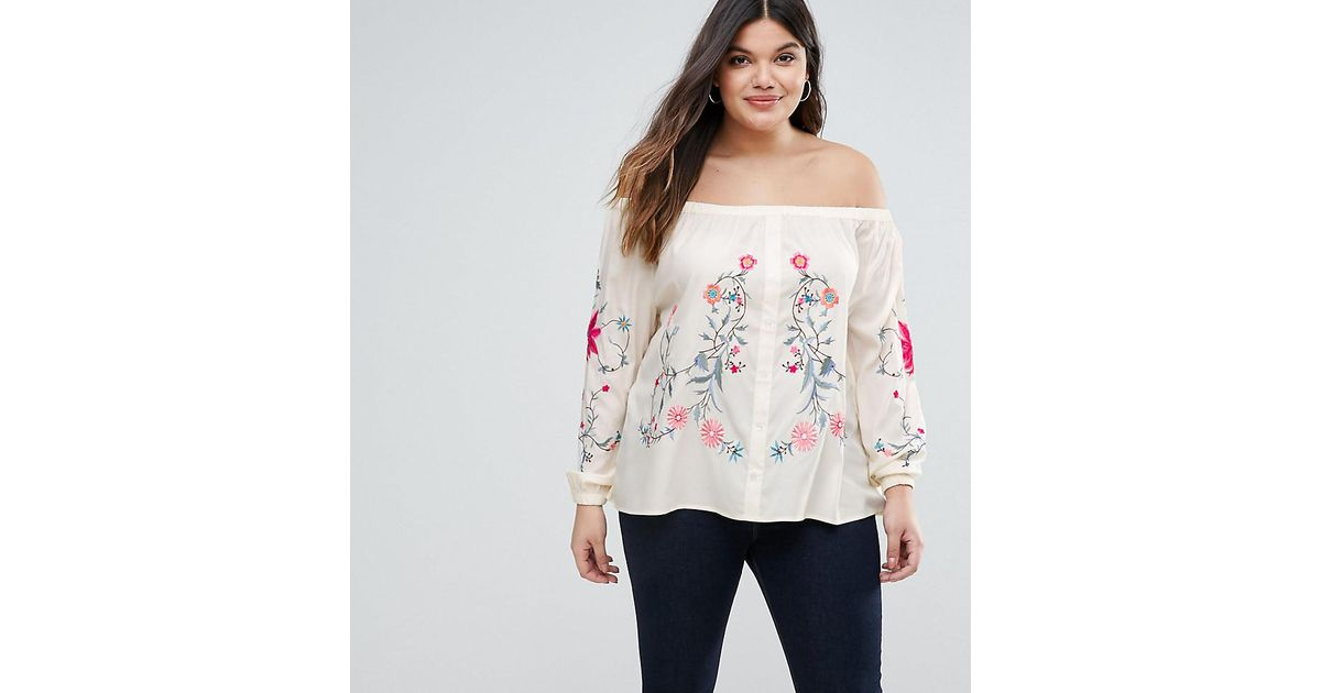 db3532141a6fd1 Lyst - Boohoo Embroidered Bardot Top in White