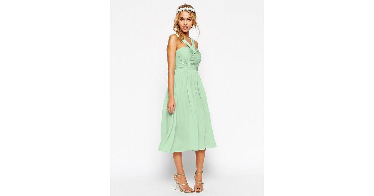 Simple Wedding Dresses Asos: Asos Design Bridesmaid Midi Dress With Halter Neck