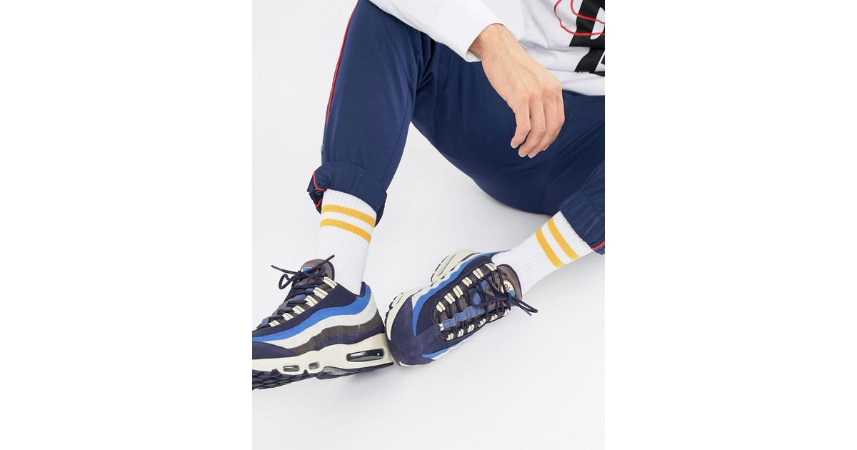 best service 2824f 3bb86 Nike Air Max 95 Premium Trainers In Navy 538416-404 in Blue for Men - Lyst