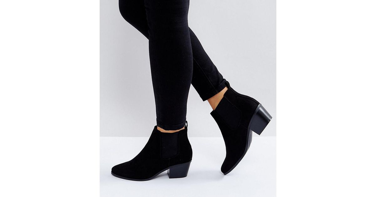 7fb9fe2321ac ASOS Wide Fit Revive Chelsea Ankle Boots in Black - Lyst