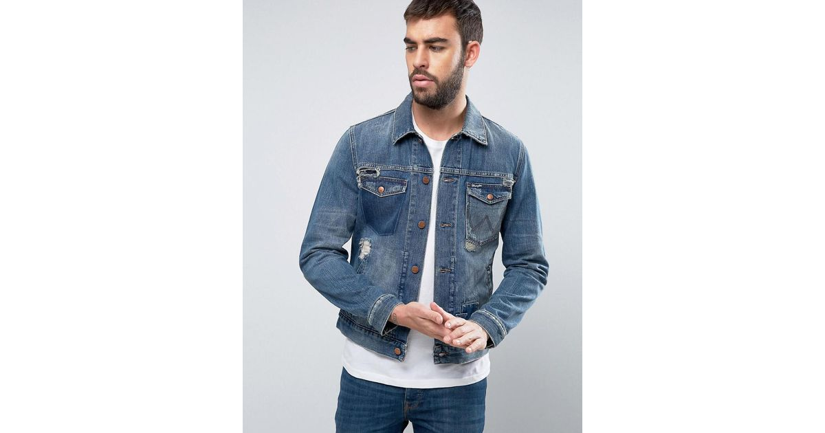 58f00d909b7 Wrangler Regular Fit Denim Jacket Blue Shadow Rip And Repair in Blue for  Men - Lyst