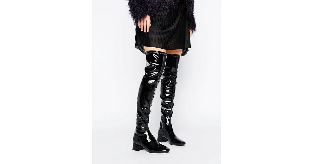 Mango Patent Thigh High Boot in Black