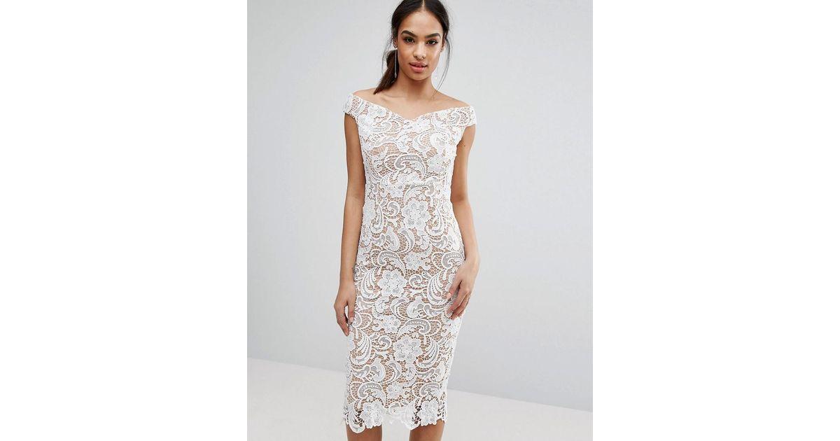 Boohoo White Lace Off The Shoulder Midi Pencil Dress