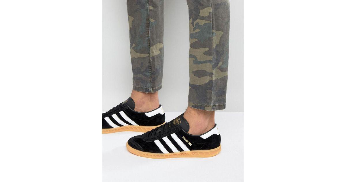 Adidas Originals Hamburg Sneakers In Black S76696 for men