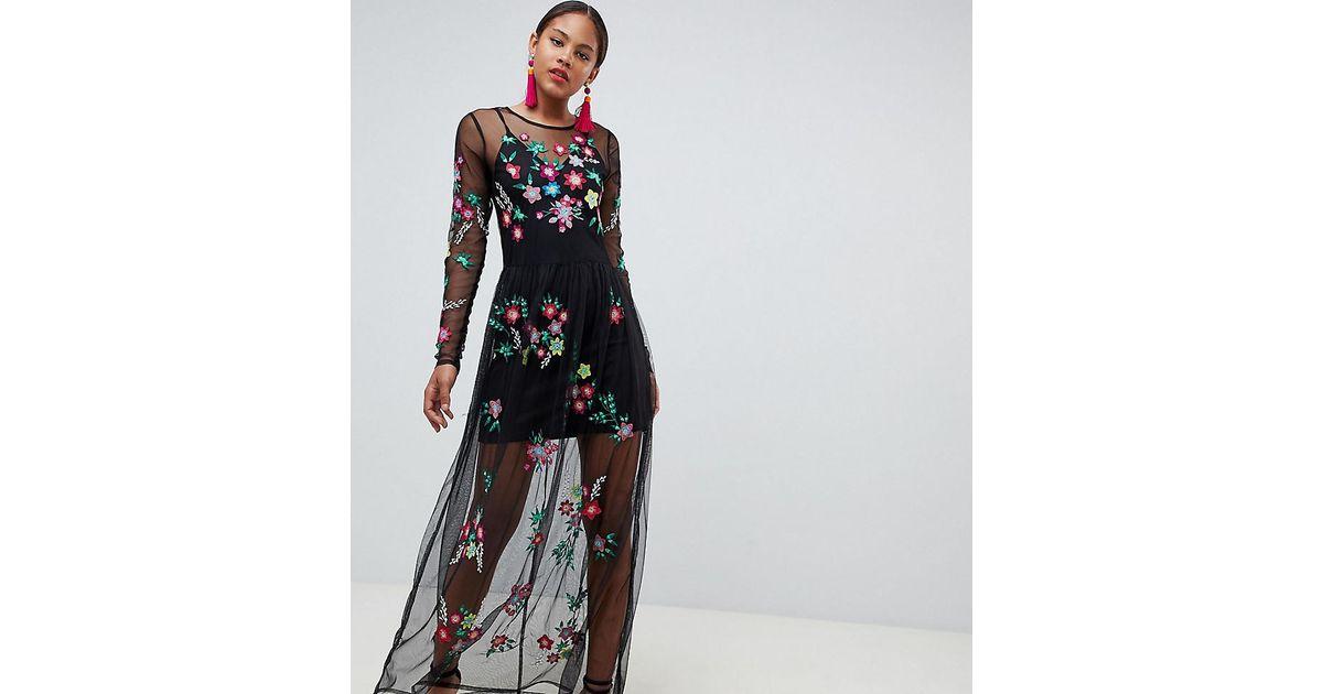 Asos Denim Premium Mesh Maxi Dress With Floral Embroidery