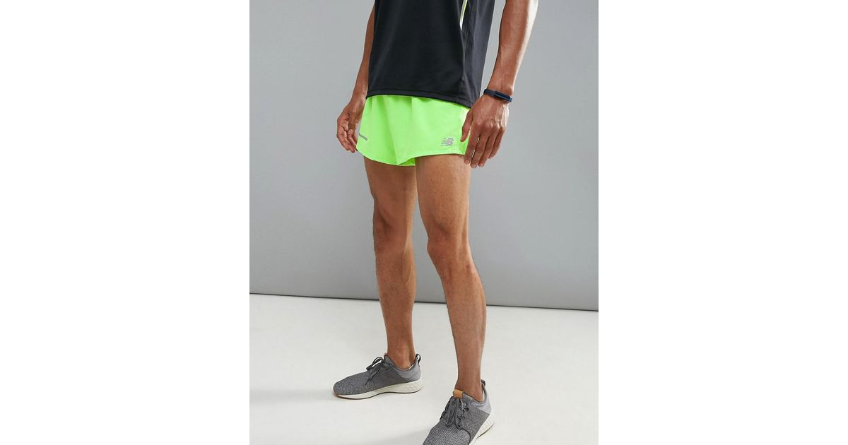 4e6180919f74c New Balance Running Impact 3 Inch Split Shorts In Green Ms61231egl in Green  for Men - Lyst