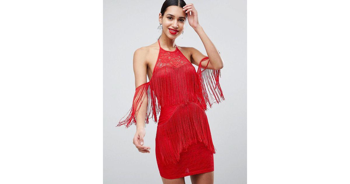 Robe Franges Ax Paris En Coloris Rouge Lyst