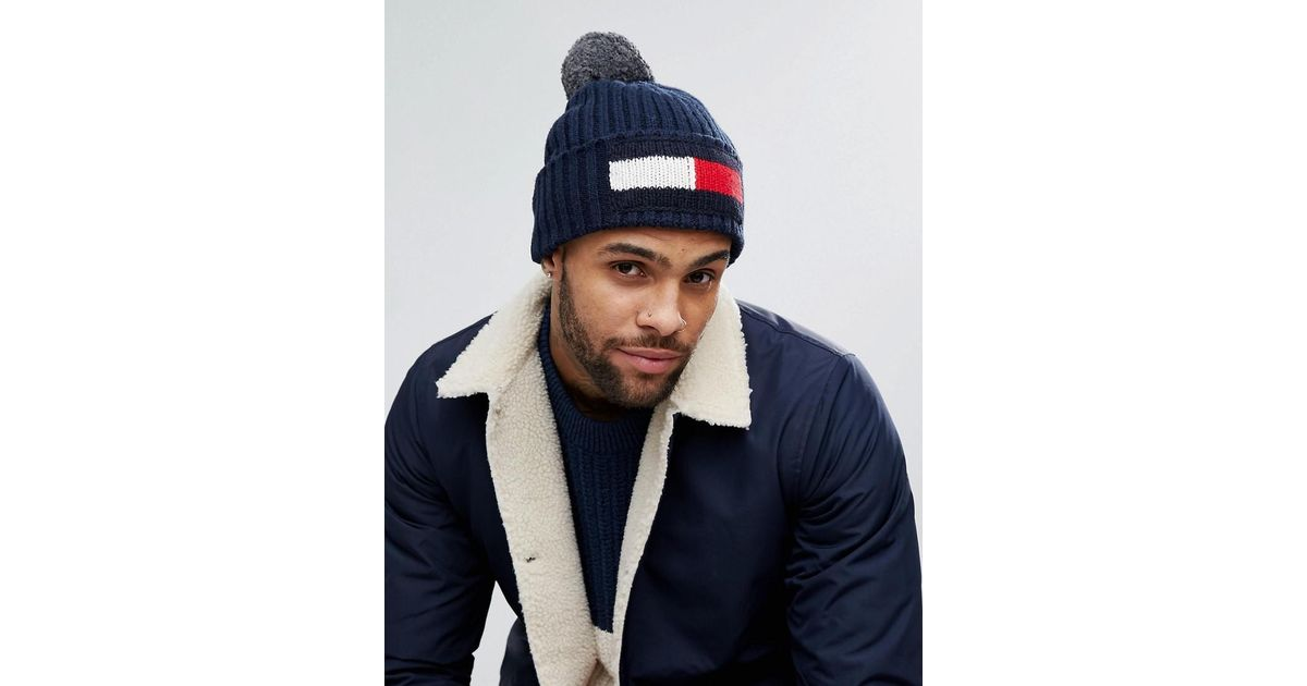 c0cf1c38 Tommy Hilfiger Flag Bobble Beanie In Navy in Blue for Men - Lyst