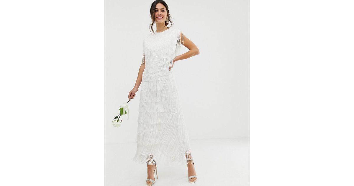 afb5d0695 Vestido largo de boda con flecos ASOS de color White