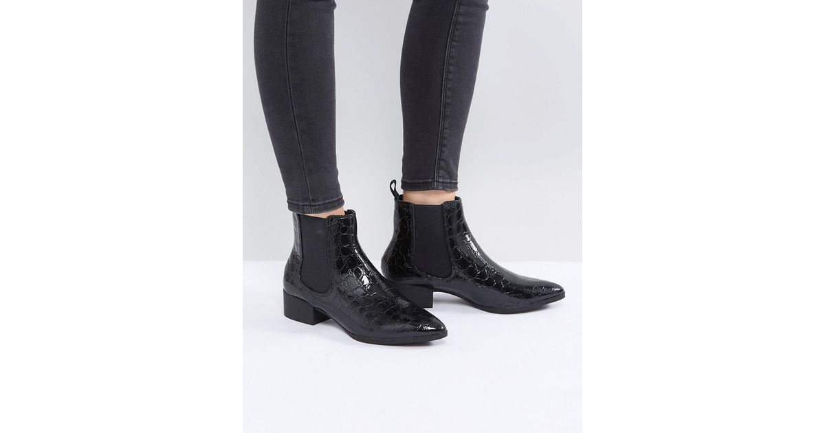 Croc Pointed Chelsea Ankle Boot
