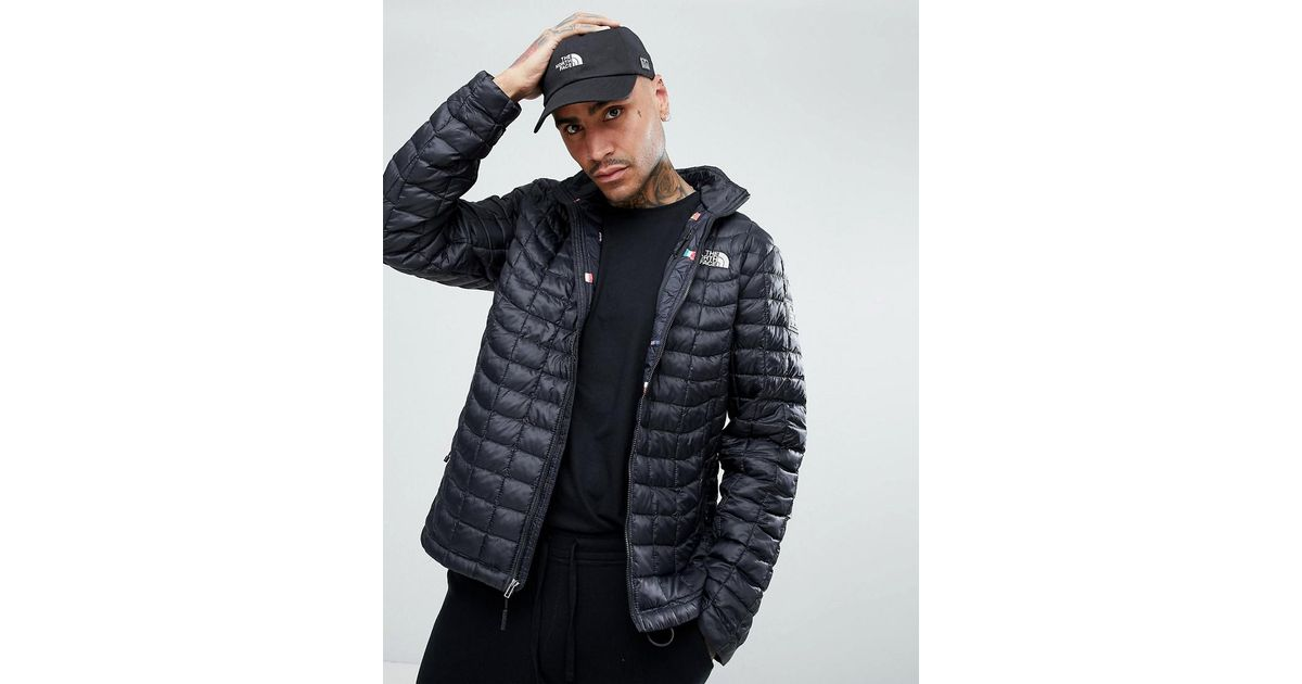 Lyst - The North Face International Limited Capsule Thermoball Puffer Jacket  In Black With Flag Lining in Black for Men 91cb48464