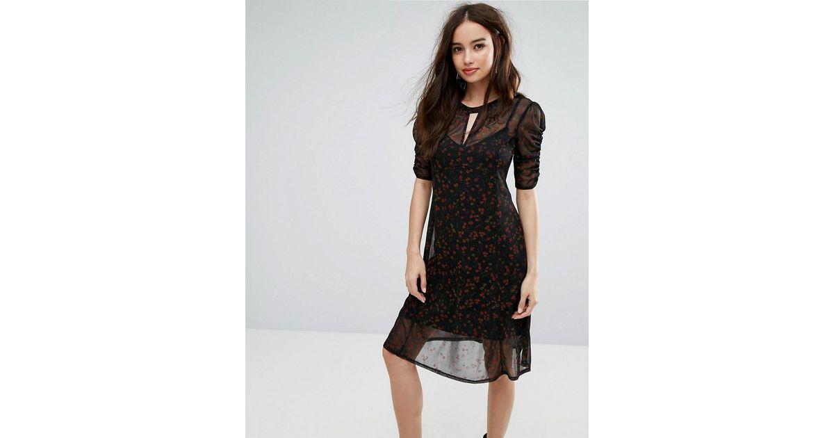 Overlay Printed Ruched Dress - Print Miss Selfridge qQ7RpTwPHc