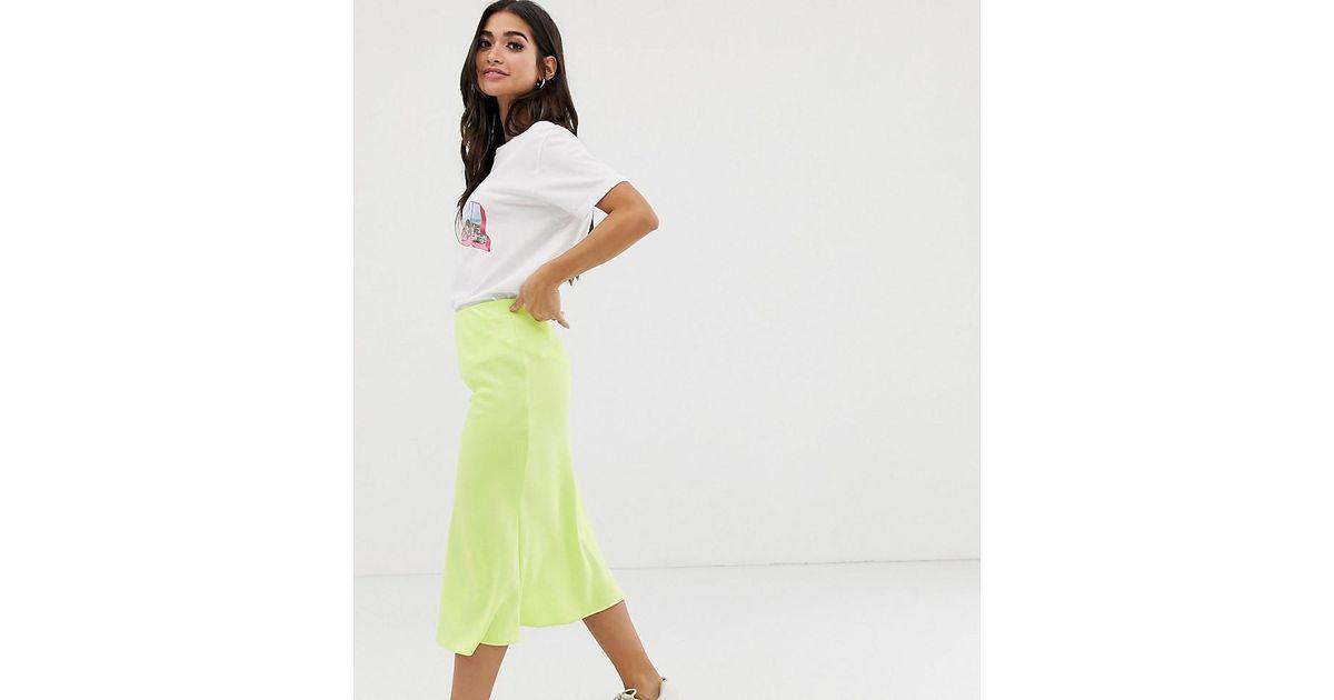 c94d4296c River Island Bias Cut Midi Skirt In Lime in Green - Lyst