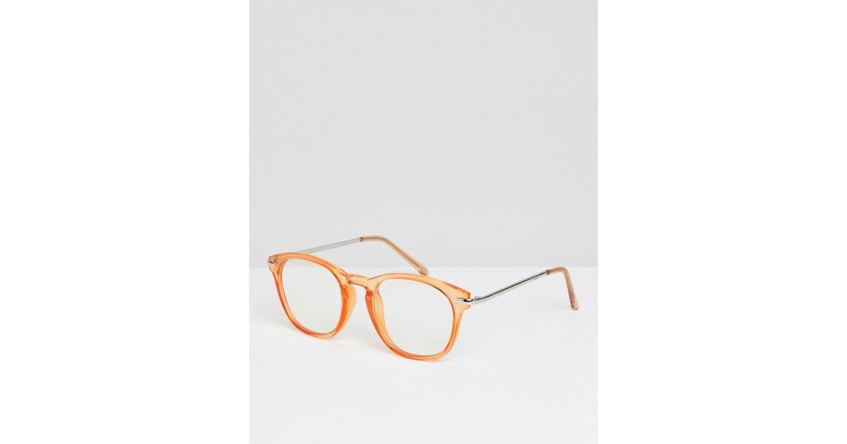 3e70e2cb9b Lyst - ASOS Round Glasses In Crystal Orange With Clear Lens in Orange for  Men