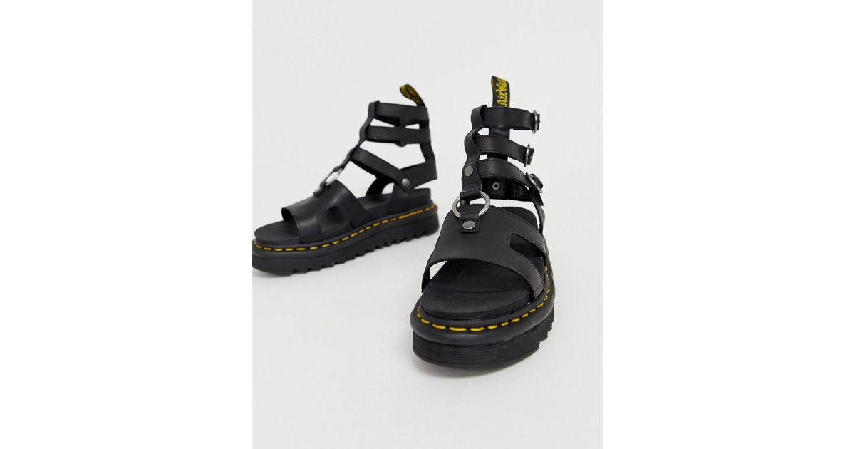 8055124fe9e Dr. Martens Adaira Gladiator Leather Chunky Sandals In Black