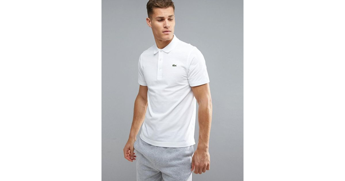 0fa556de3 Lacoste Sport Textured Ribbed Polo Shirt In White in White for Men - Lyst