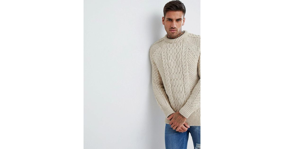 Mens Ribbed Crew Neck Chunky Cable Knitted Winter Pullover Longline Jumper