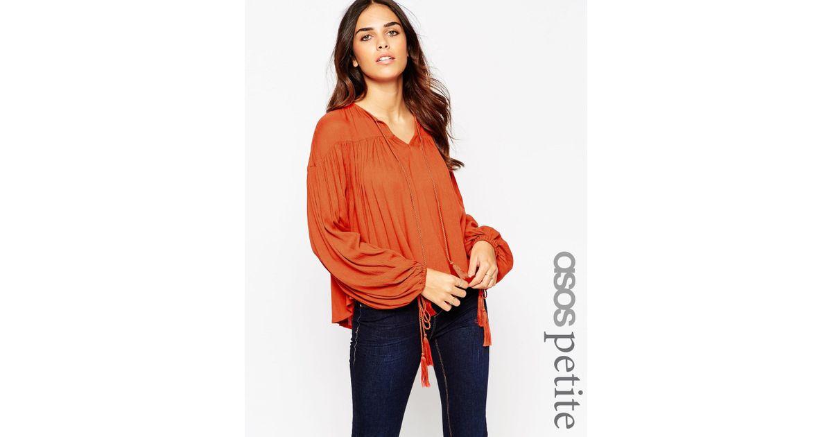 5de463a348a2b6 Lyst - ASOS Petite Ultimate 70s Blouse in Orange