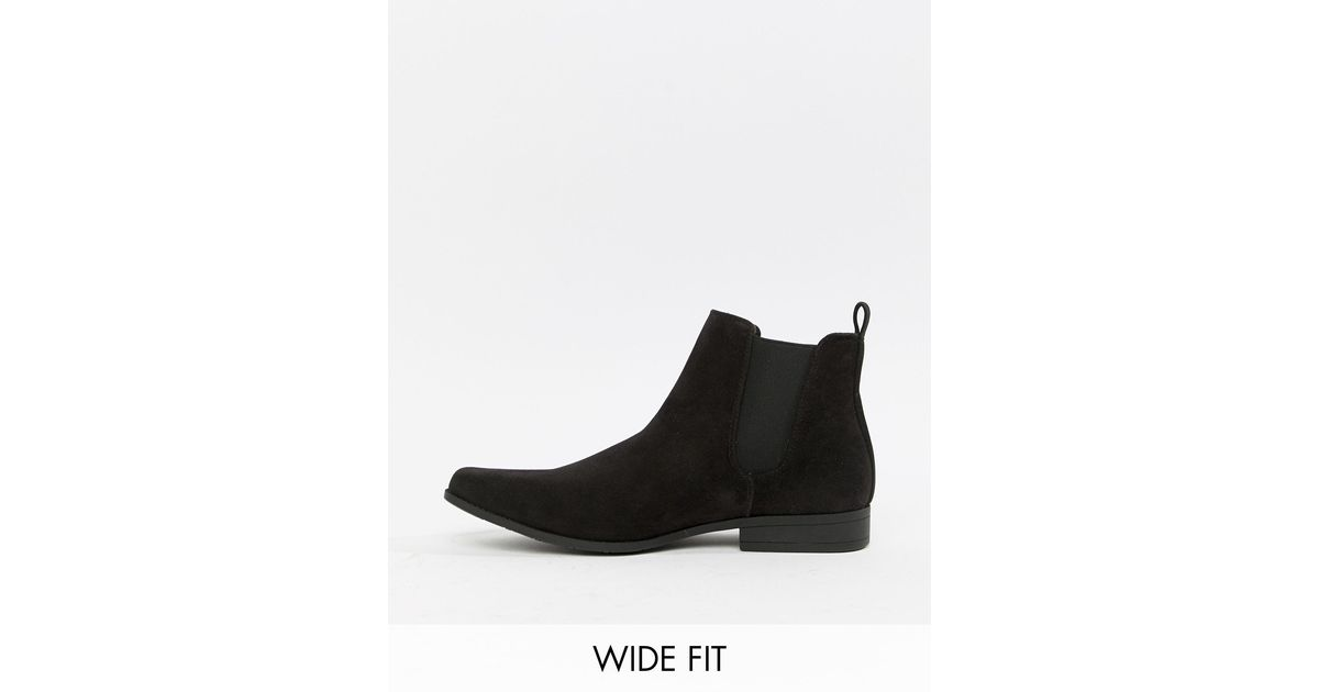 ASOS Wide Fit Chelsea Boots in Black