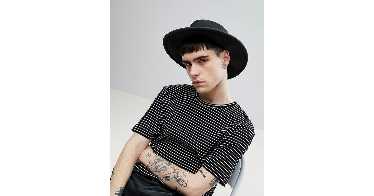 34a8120ef72 Asos Wide Brim Pork Pie Hat In Black With Distressing in Black for Men -  Lyst
