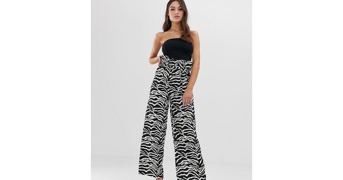 f15c57855e3e Boohoo Wide Leg Tailored Trousers In Zebra Print - Lyst