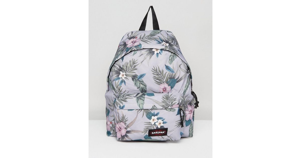 photos officielles 6a451 9e6a7 Eastpak Gray Padded Pak R Backpack In Grey Hawaiian Floral Print