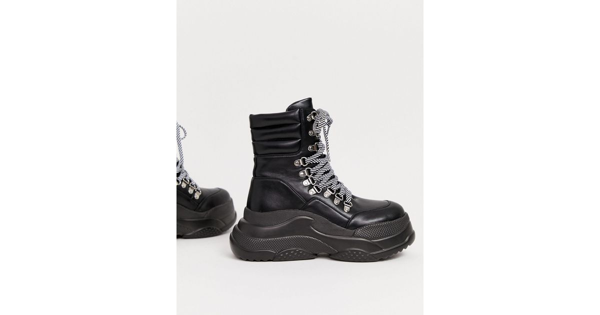 black chunky lace up hiker boots
