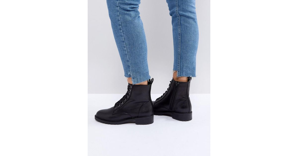 available authorized site new design Steve Madden Black Officer Leather Flat Lace Up Ankle Boots