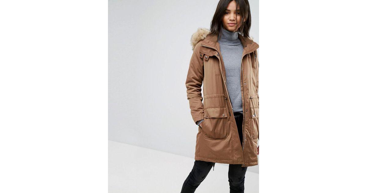 Esprit Natural Faux Fur Hood Parka Jacket