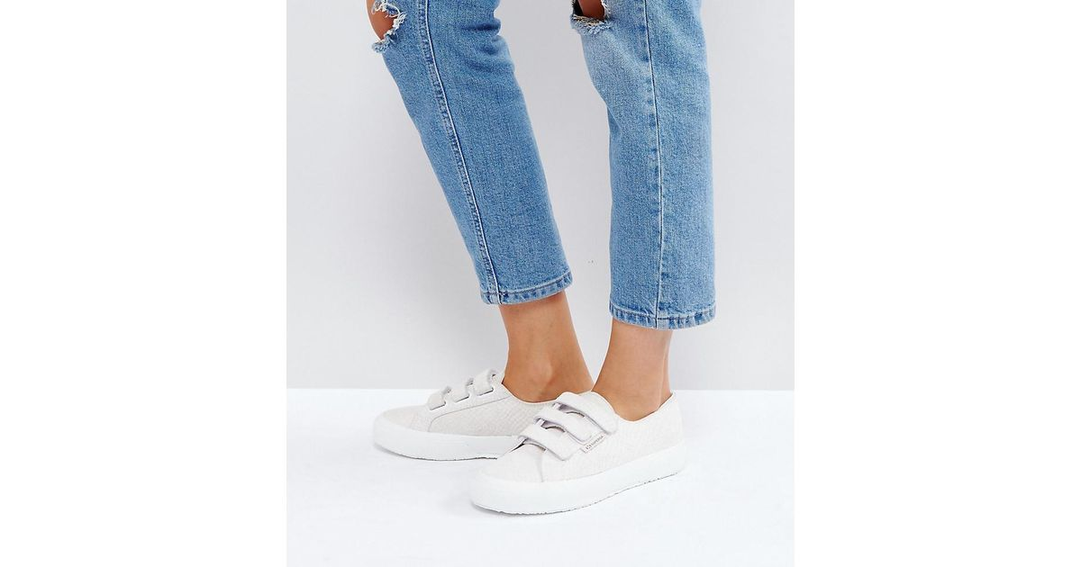 Superga Croc Leather Velcro Sneakers In