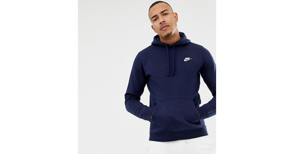 f0ed9dd1527c Nike Pullover Hoodie With Swoosh Logo In Navy 804346-451 in Blue for Men -  Lyst