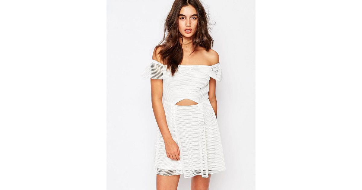 74888d225001 Missguided - White Bardot Grid Lace Prom Dress - Lyst