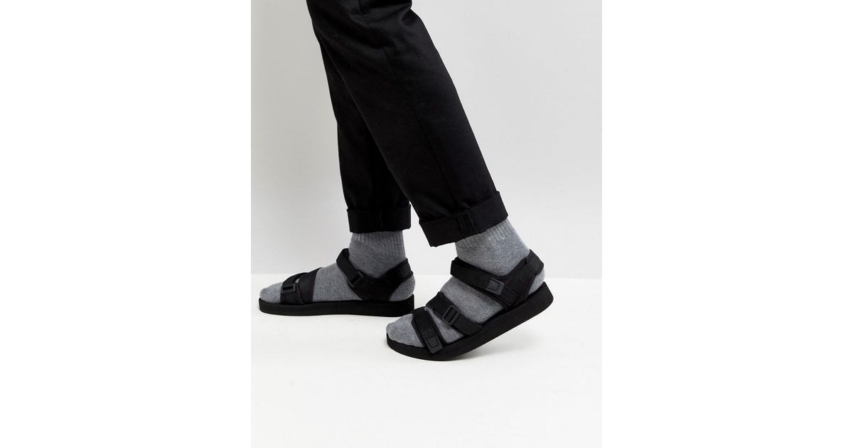 95a0dfb5831 Lyst - ASOS Asos Sandals In Black With Tape Straps in Black for Men