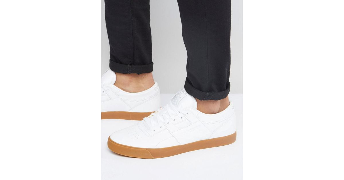 Reebok Workout Low Leather Gum Trainers In White Bd4764 in White for Men -  Lyst 13c97f26a