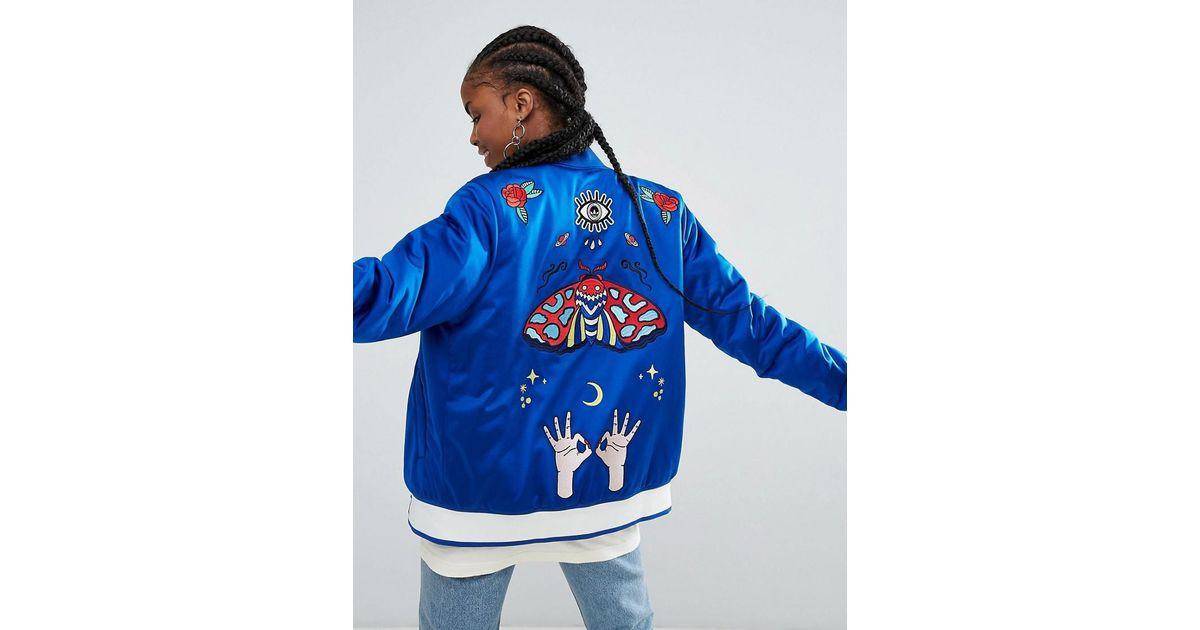 fe885897e Adidas Blue Originals Embellished Arts Embroidered Bomber Jacket