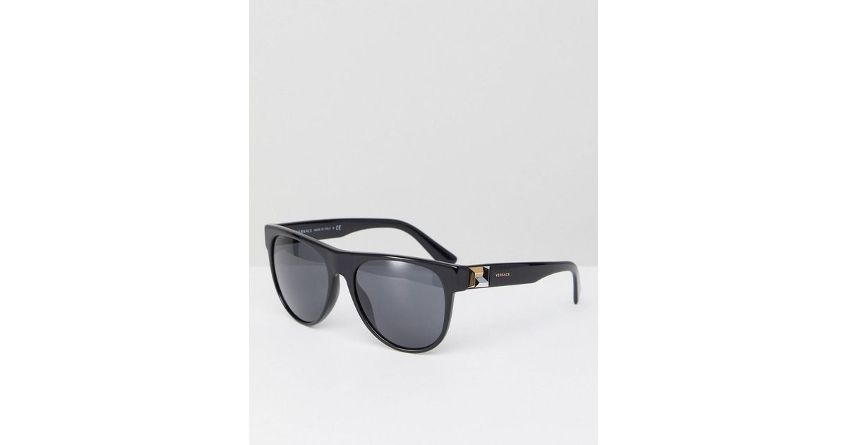 724494998a0a Versace 0ve4346 Round Sunglasses In Black 57mm in Black for Men - Lyst