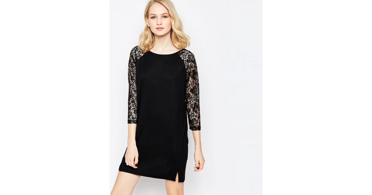 French connection lotte lace t shirt dress in black lyst for French connection t shirt dress