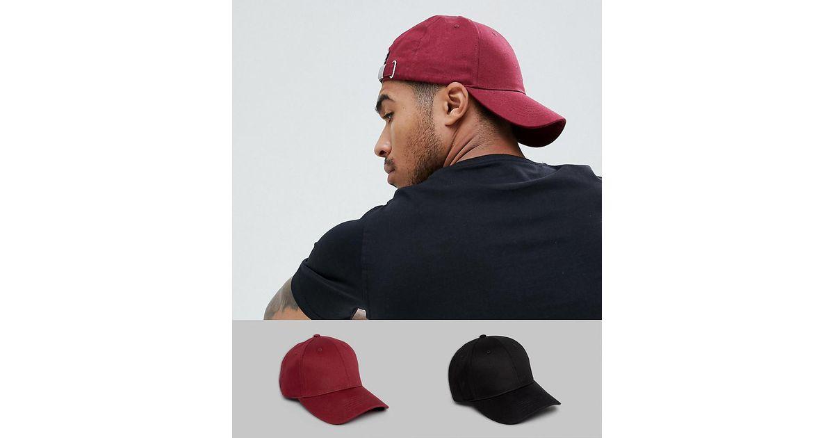 e17a535bbb1c3 Lyst - ASOS 2 Pack Baseball Cap In Black   Burgundy Save in Black for Men