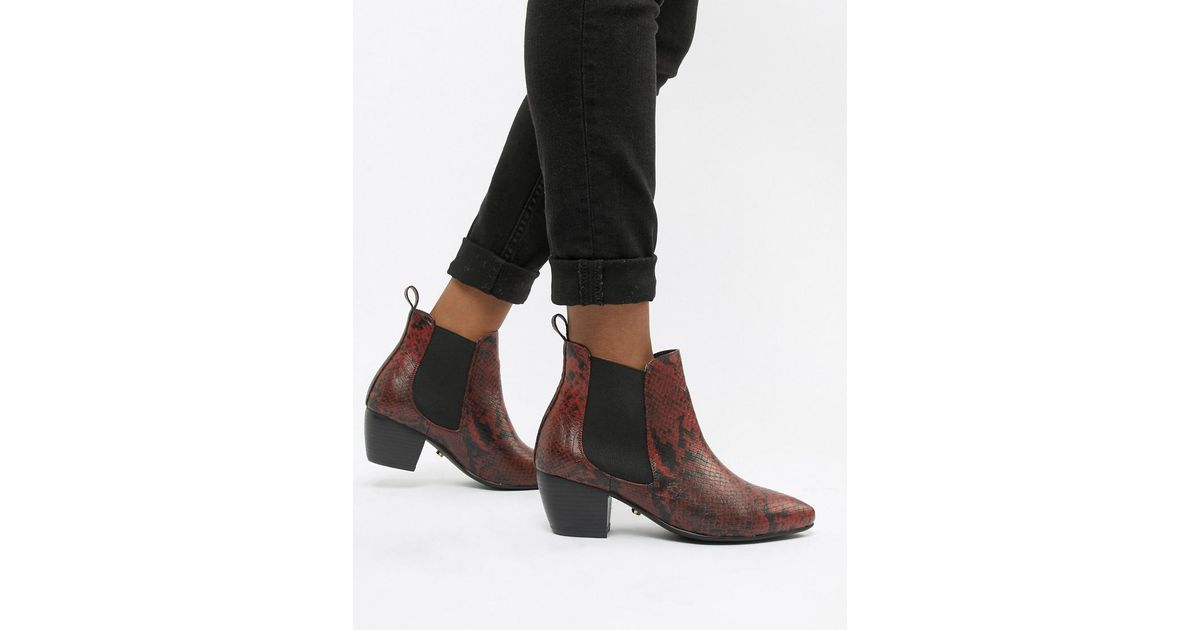 Oasis Leather Heeled Chelsea Boots In