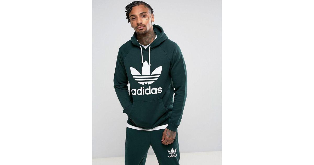 Adidas Originals Trefoil Hoodie In Green Br4183 In Green For Men Lyst