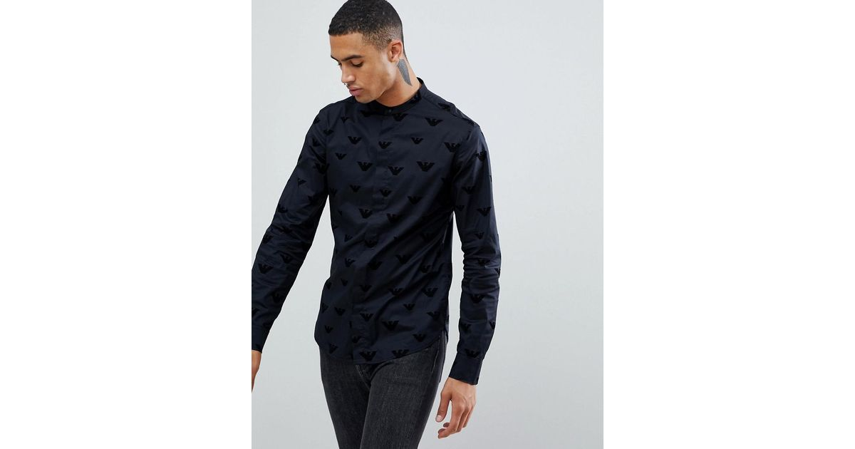 29bd25f501 Emporio Armani Slim Fit Grandad Collar Shirt With All Over Flocked Logo In  Black for men