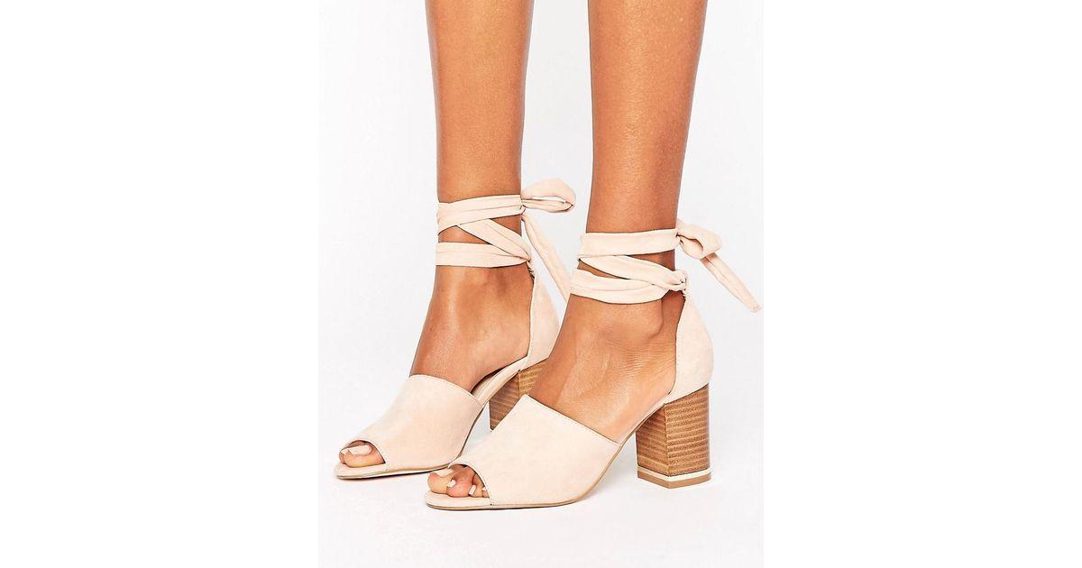 83c85e26f26 ASOS Pink Take Charge Tie Leg Heeled Sandals