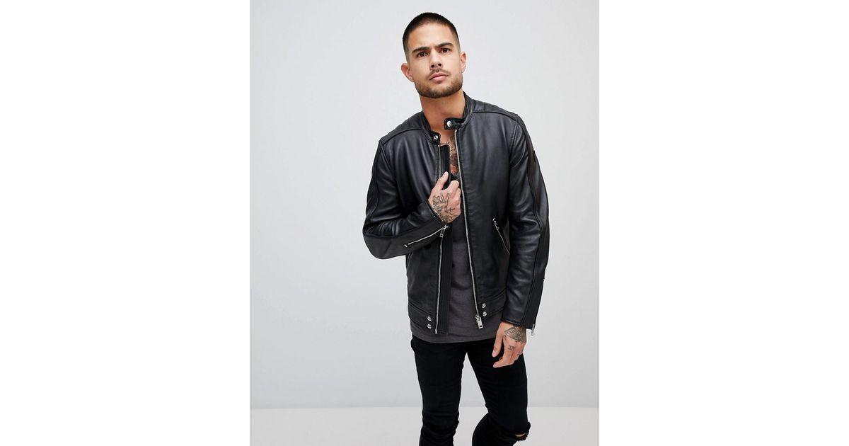 328328d46 DIESEL Black L-quad Leather Biker Jacket for men