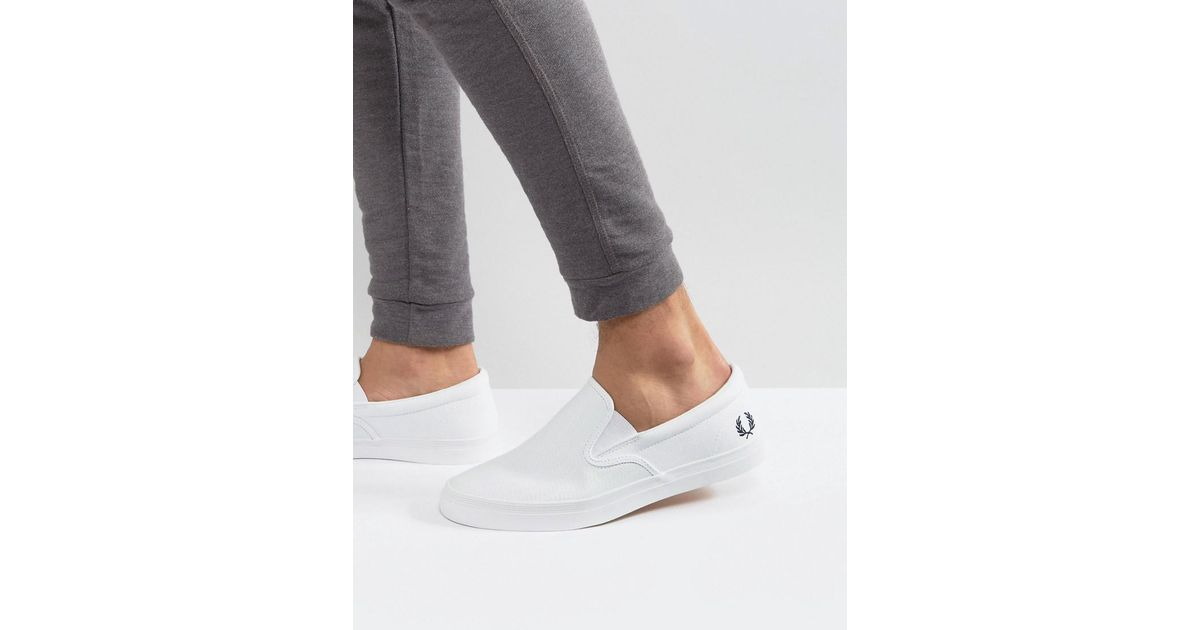 06e3b8dd32 Fred Perry Underspin Slipon Perf Leather Trainers in White for Men - Lyst