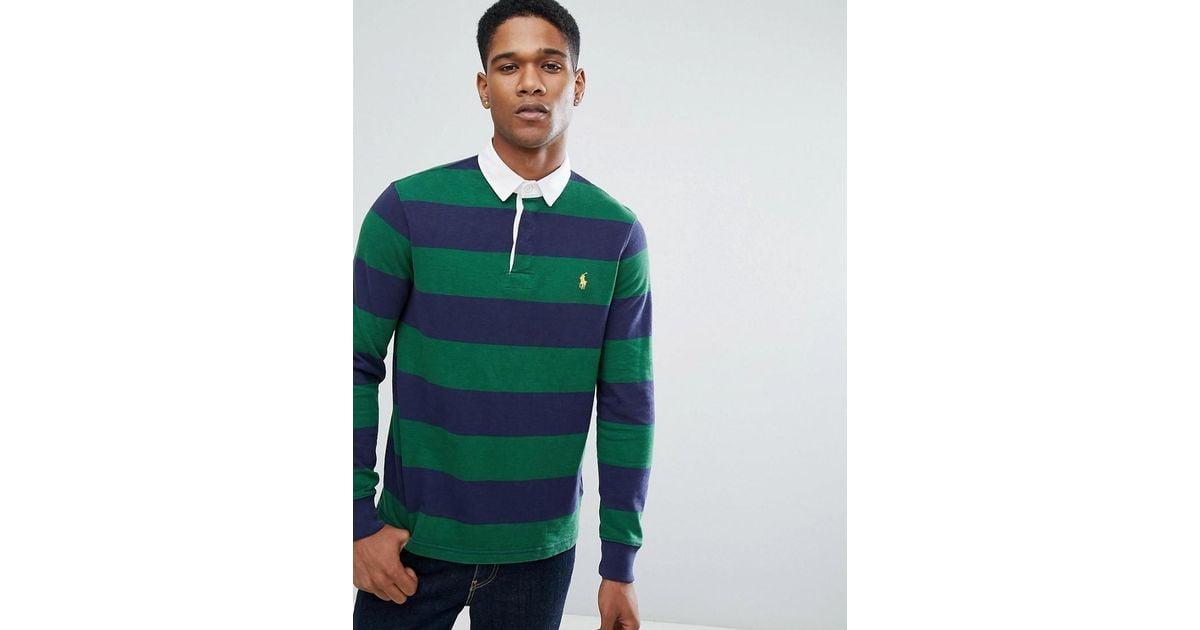 Green Slim Fit Sleeve In Men Polo Rugby Custom Ralph Stripe Long Lauren For 80vNnmw