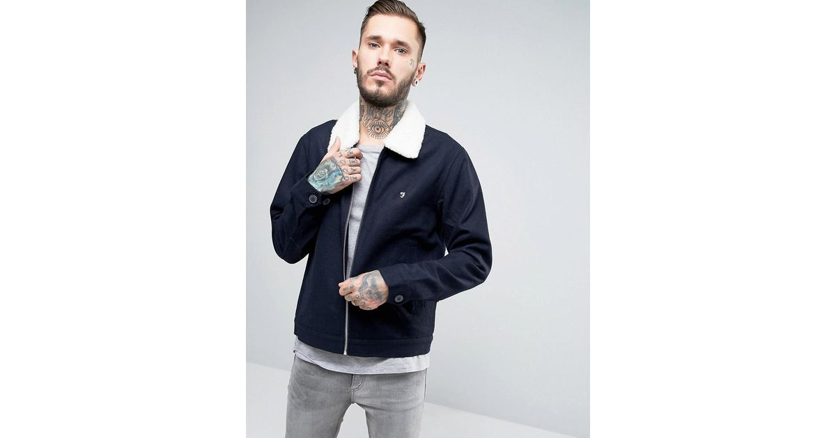 b6b9bbeca Farah Blue Bomber Jacket With Borg Collar In Navy Wool for men
