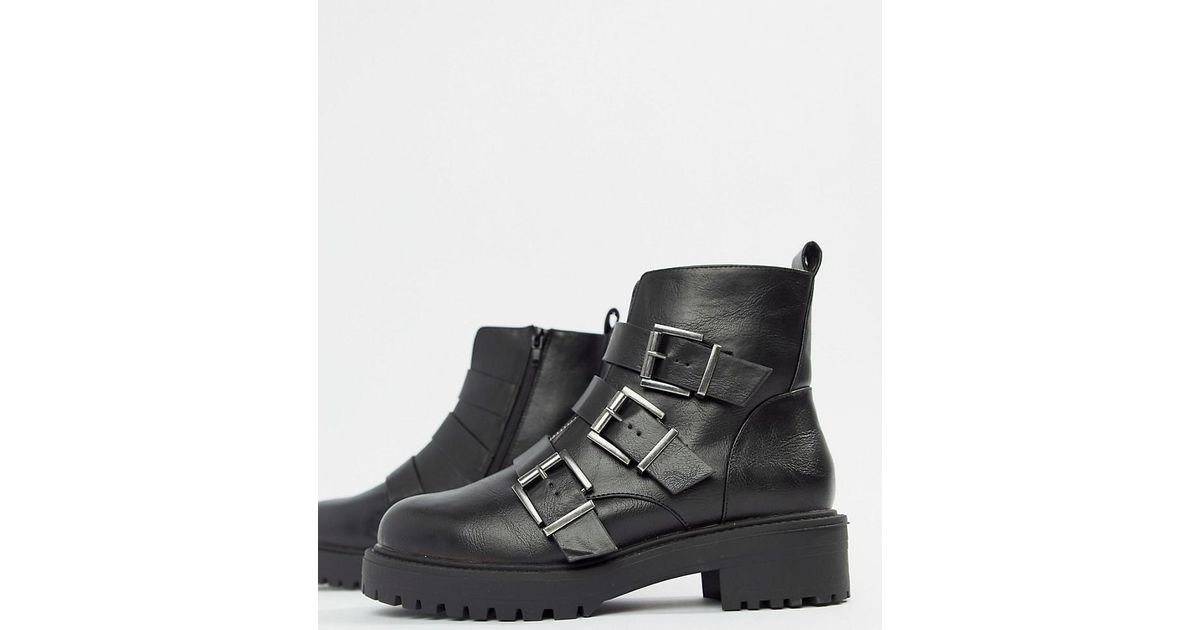 0435d34b51f9 Lyst - ASOS Wide Fit Arco Chunky Multi Buckle Ankle Boots in Black