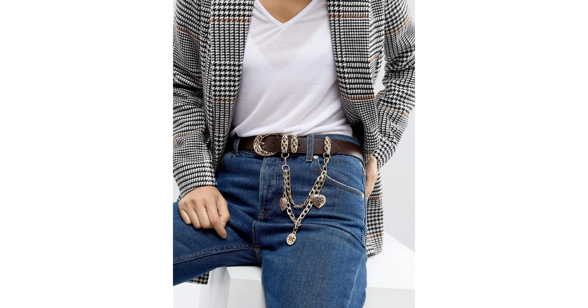 Jeans Belt With Hanging Charm Chain - Brown Asos f4A3VPkxc