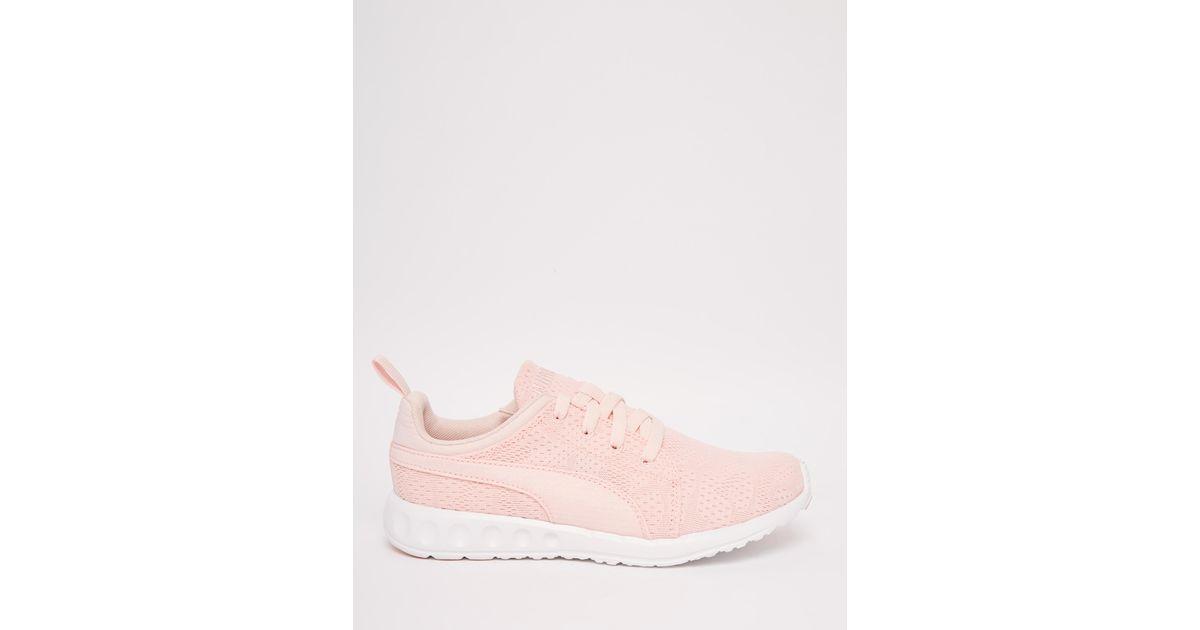 puma carson runner camo mesh pale pink sneakers