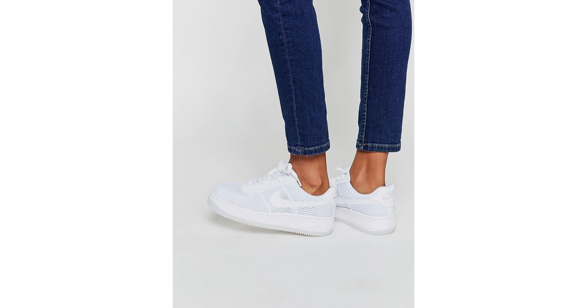 9e091e18c6b Nike Air Force 1 Low Upstep Breathe Trainers in White - Lyst